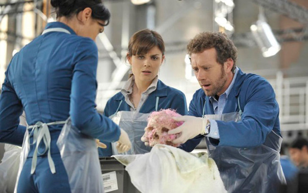 Image of TJ Thyne, Tamara Taylor, and Emily Deschanel examining a skull in the Bones episode The Shallow in the Deep