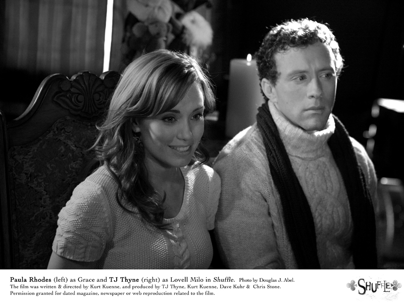 Image of TJ Thyne and Paula Rhodes in a promo still from the Theatre Junkies film Shuffle