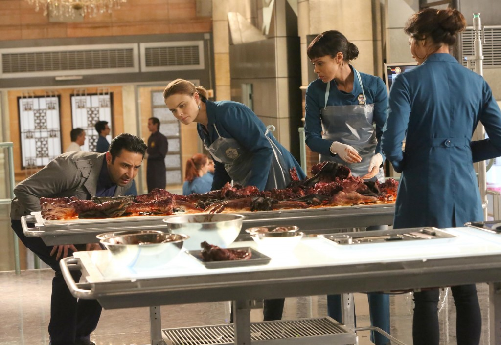 Bones Season 11 scene with Arastoo, Brennan, Cam and Angela